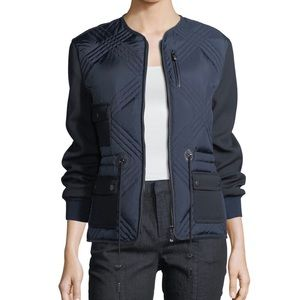 Tory Burch Hilary navy elbow patch quilted jacket